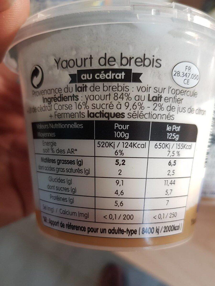 Yaourt de brebis au cedrat - Voedingswaarden - fr