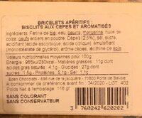BRICELET Biscuits aux cèpes et aromatisés - Informations nutritionnelles