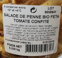 Salade de penne feta tomates confites - Ingrédients - fr