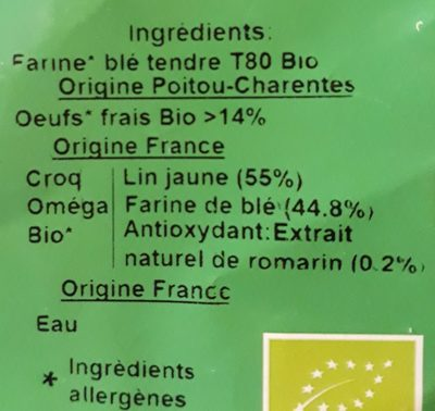 Pâtes artisanales - Ingredients - fr