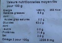 Pâtes artisanales - Nutrition facts - fr