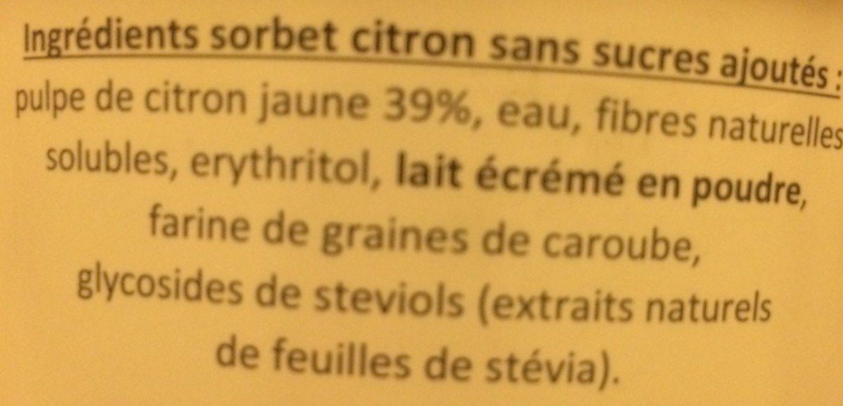 Sorbet citron 0% de sucres ajoutés - Ingredients