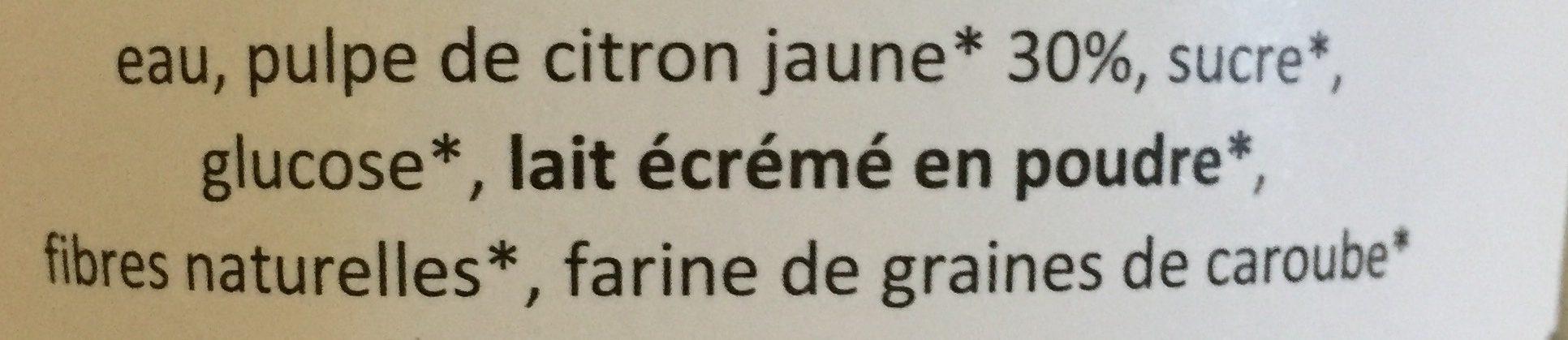 Sorbet citron - Ingrédients