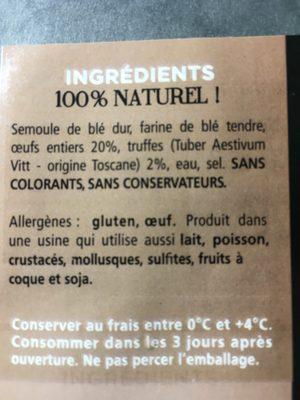 Tagliatelles aux truffes - Ingrédients