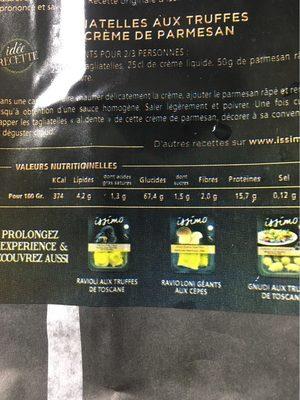 Tagliatelles aux truffes - Informations nutritionnelles