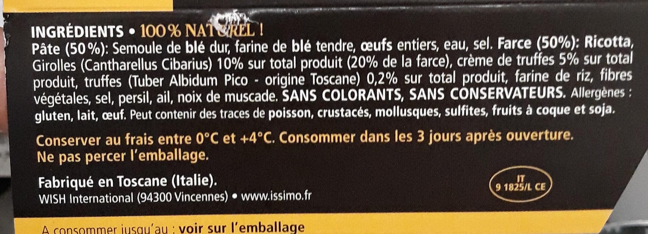 Issimo ravioli girolles et truffes de toscane - Ingredienti - fr