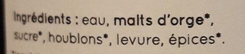 La Blonde du Gers - Ingrédients - fr