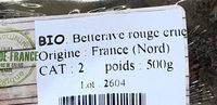 Betterave rouge crue bio - Ingrédients
