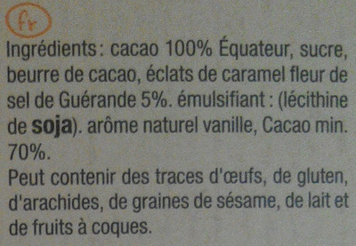 Noir 70% caramel beurre salé - Ingredients