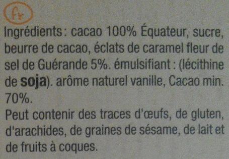 Noir 70% caramel beurre salé - Ingredients - fr