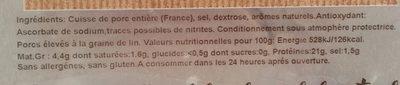 Jambon Cuit Supérieur Blanc 4 Tranches Élaboré sans Nitrite - Ingrédients - fr