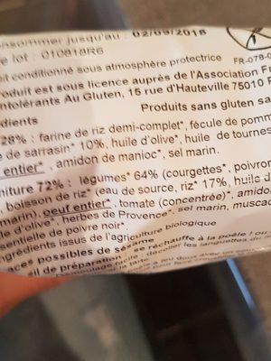 Tarte légumes du soleil - Ingrediënten - fr