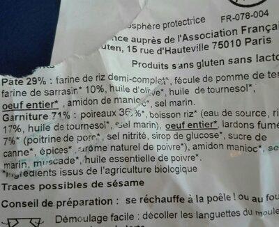 Tarte poireaux lardons - Ingrediënten - fr