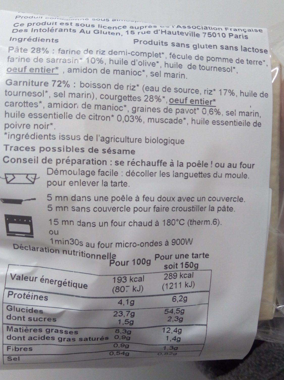 Tarte Courgette Citronnée aux Graines de Pavot - Ingrediënten - fr