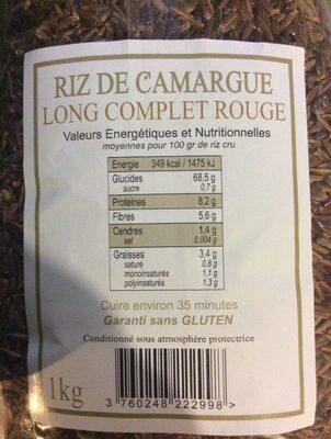 Riz de camargue - Ingrédients - fr
