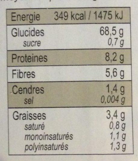 Riz de camargue - Informations nutritionnelles - fr