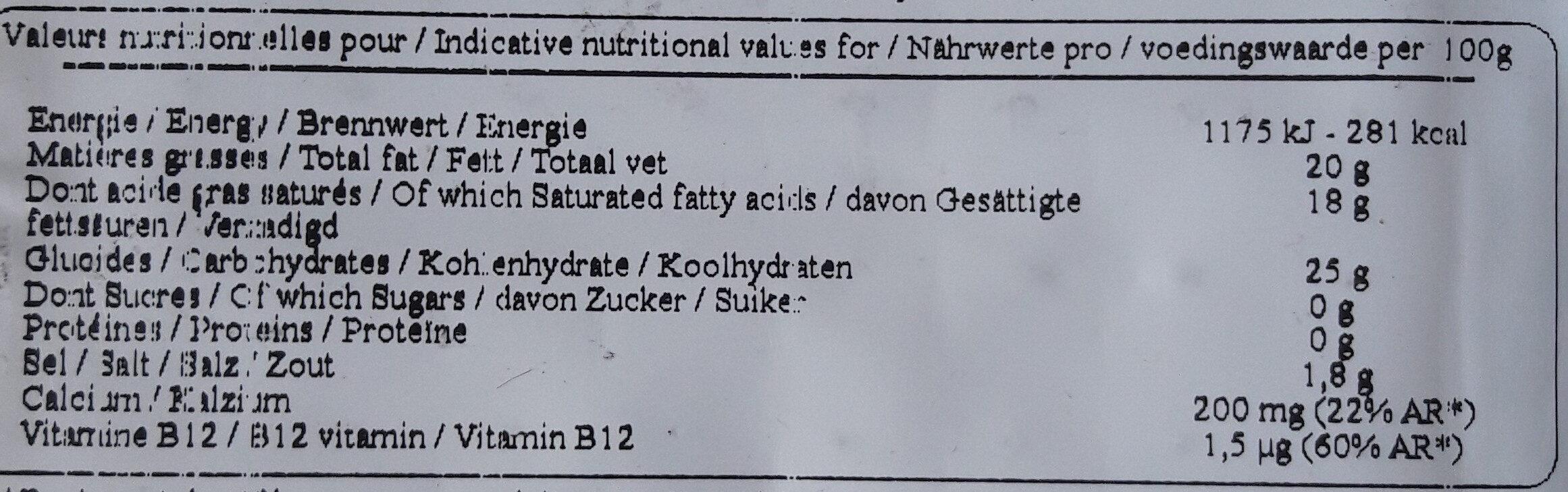 Tranches Végétales Saveur Original - Voedingswaarden - fr