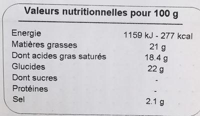 Spécialité végétalienne - Saveur Original - Informations nutritionnelles