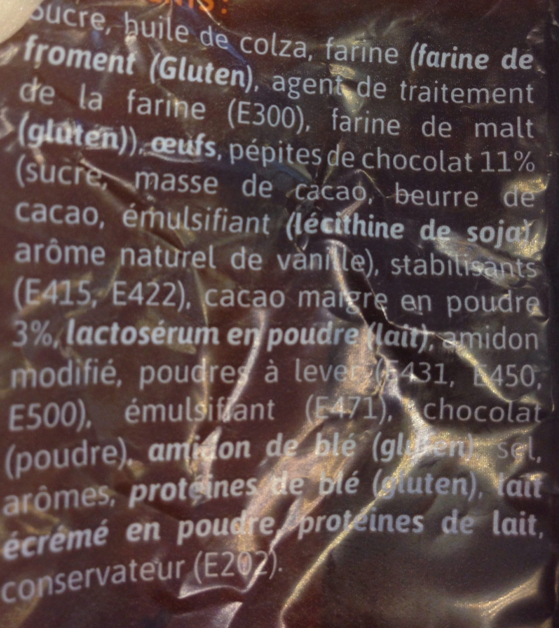 Muffin chocolat - Ingredients - fr