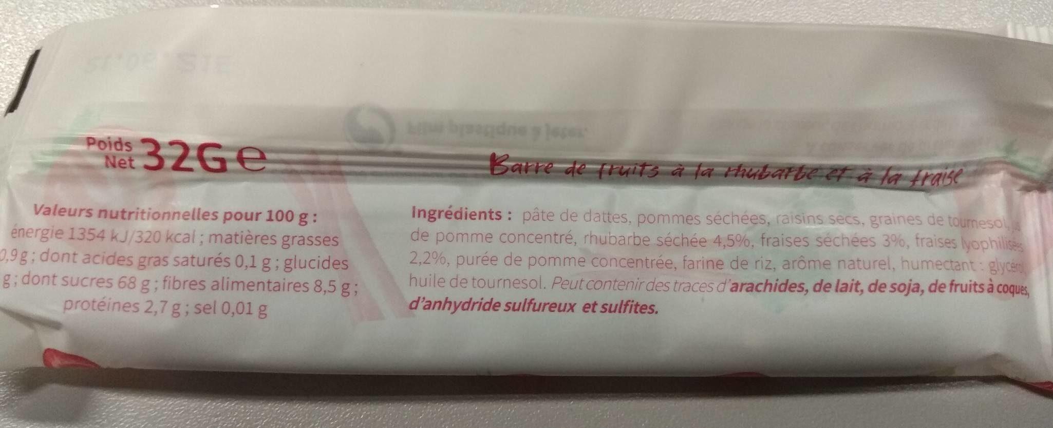 Barre de fruits rhubarbe et fraise - Nutrition facts - fr