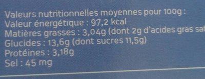 Yaourt à la vanille - Voedingswaarden - fr