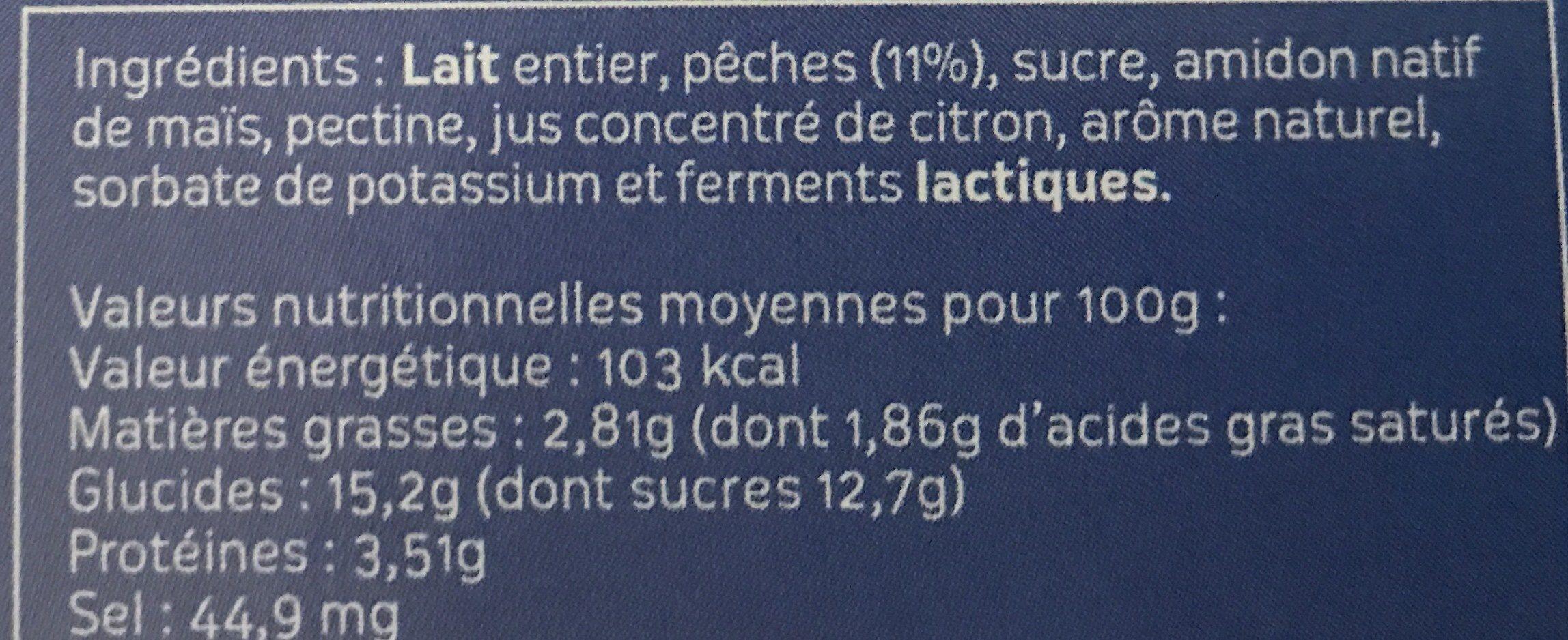 Yaourt lait entier brasses a la pêche - Ingredients - fr
