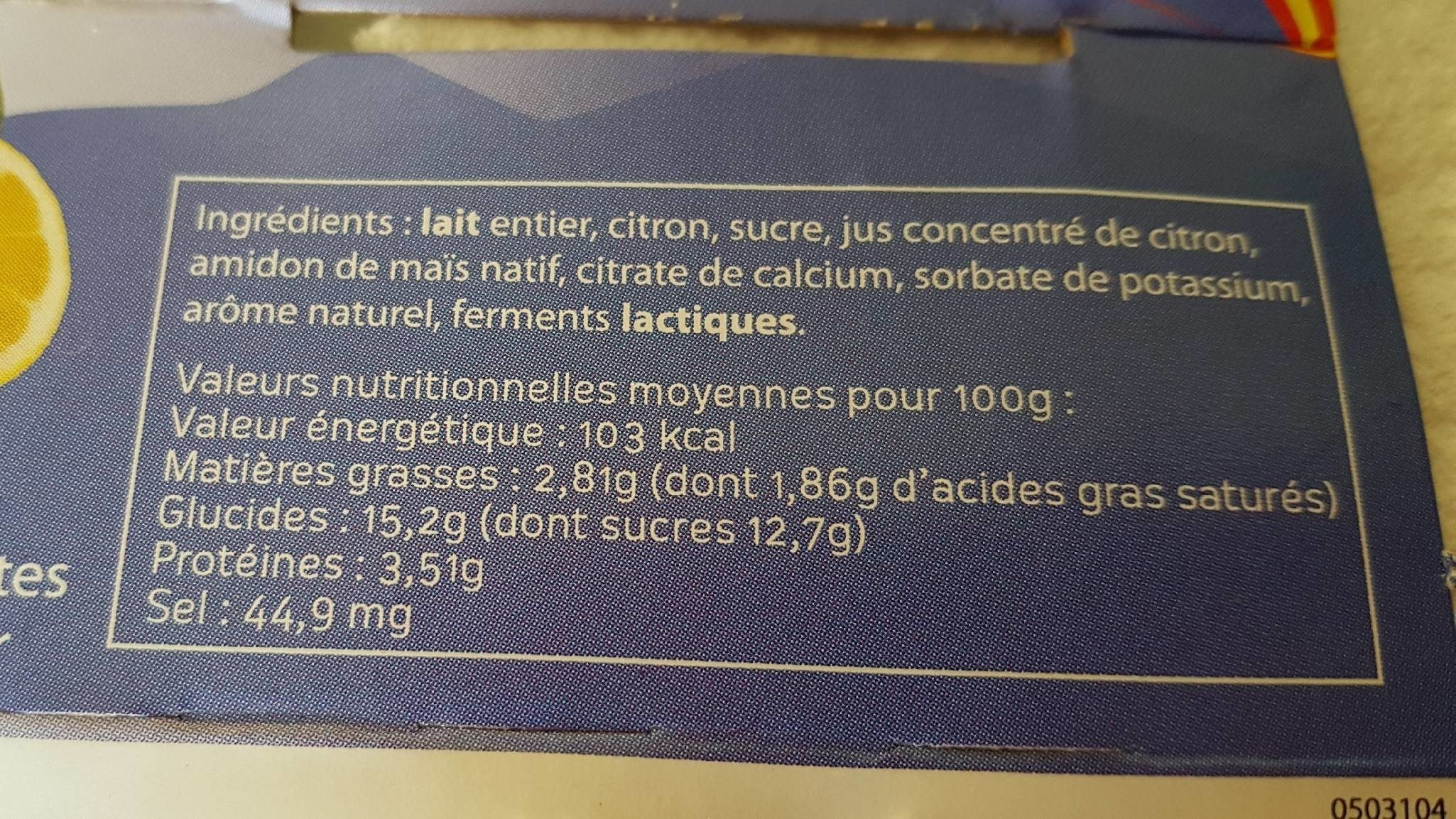 Cimelait - Nutrition facts - fr