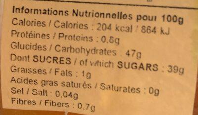 Le fruit de la Passion - Informations nutritionnelles - fr
