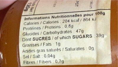 Bernadette de lavernette - Informations nutritionnelles - fr