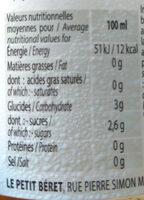 Le Petit Beret - Valori nutrizionali - fr