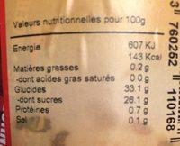 Sorbet aux fruits de la passion - Informations nutritionnelles