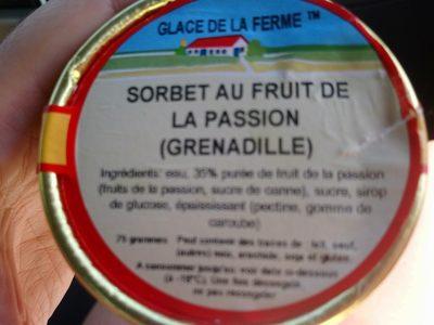 Sorbet au fruit de la passion - Ingrédients