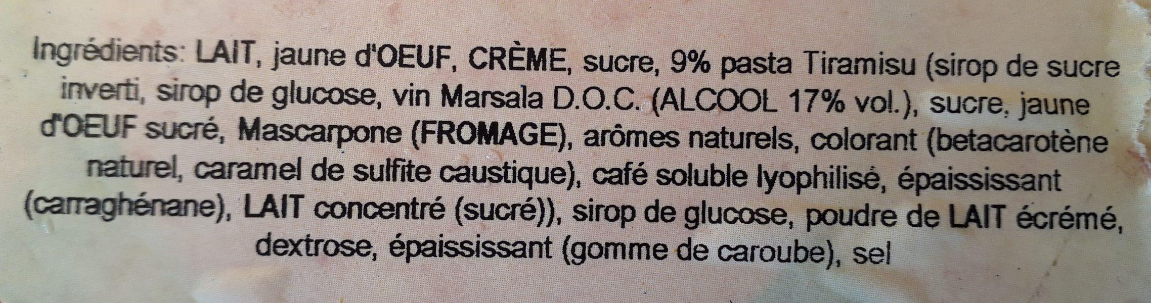 Glace Tiramisu - Ingrédients