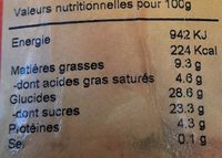 Glace Tiramisu - Informations nutritionnelles - fr