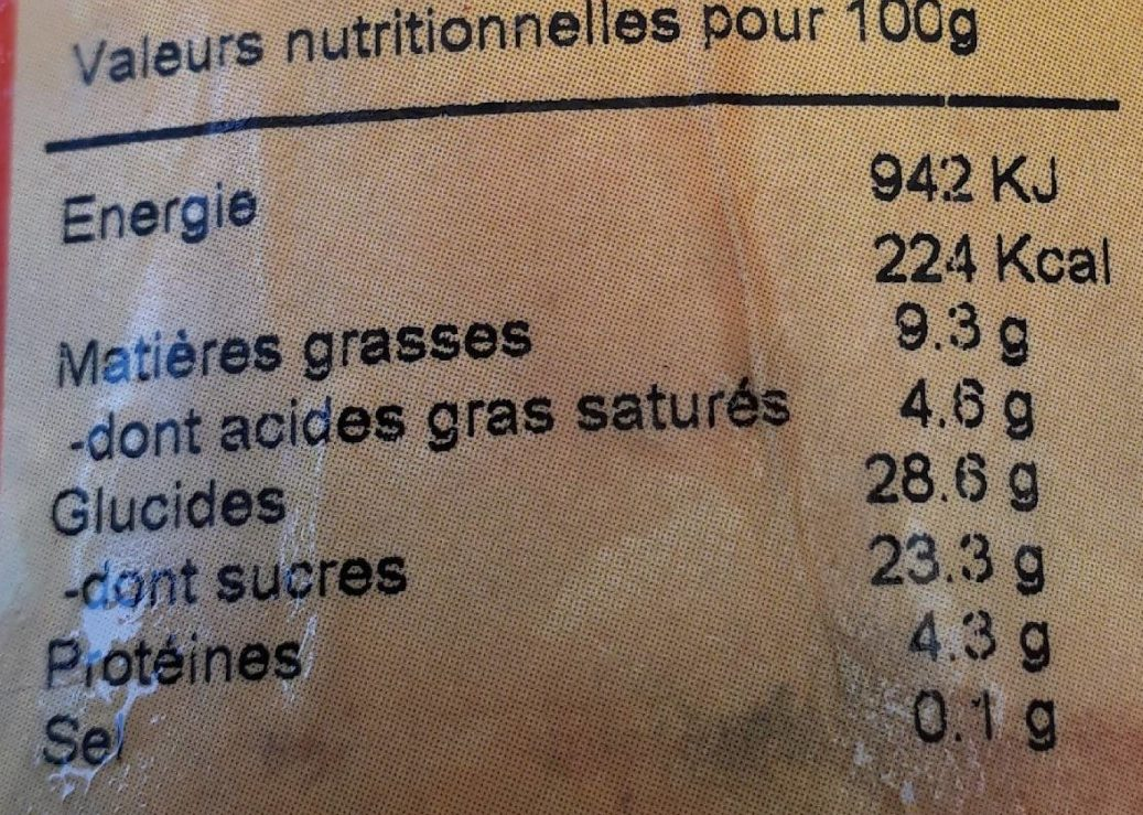 Glace Tiramisu - Informations nutritionnelles