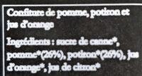 Confiture Pomme Potiron Bio - Ingrédients - fr