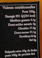 Confiture Pomme Potiron Bio - Informations nutritionnelles - fr