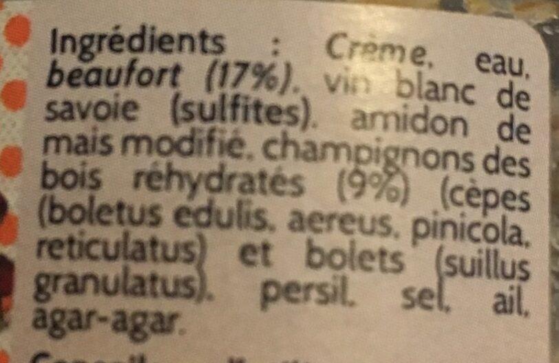 Tartinable au beaufort champignons des bois - Ingredients - fr