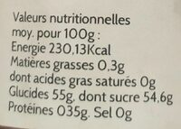Confiture extra rhubarbe framboise - Informations nutritionnelles - fr