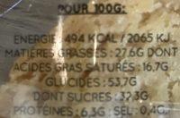 Cookie chocolat blanc - Informations nutritionnelles