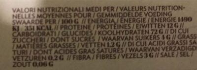 Penne Rigate - Informations nutritionnelles
