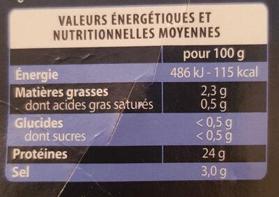 Saumon fumé d'Alaska Petit Navire - Valori nutrizionali - fr