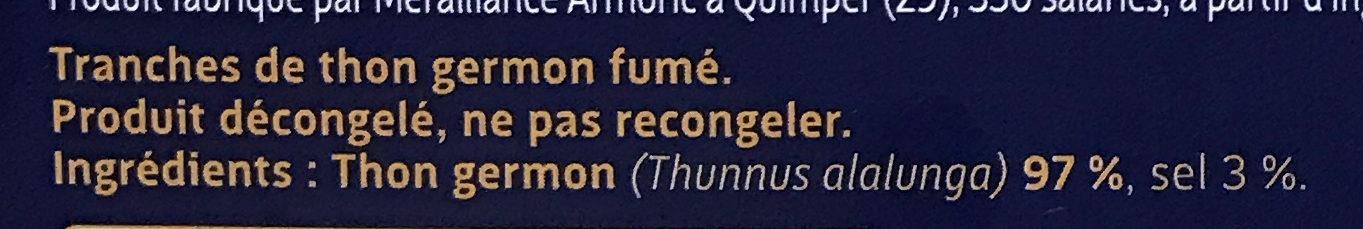 Les Poissons Sauvages Thon blanc Germon fumé - Ingrédients
