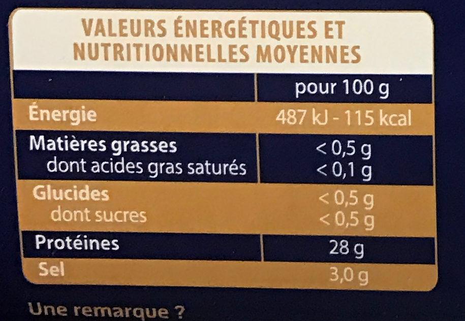 Les Poissons Sauvages Thon blanc Germon fumé - Informations nutritionnelles