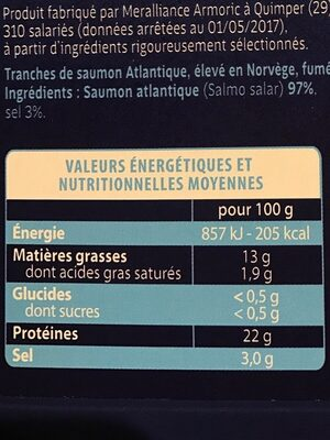 SAUMON ATL ELEVE EN NORVEGE FUME - Nutrition facts - fr