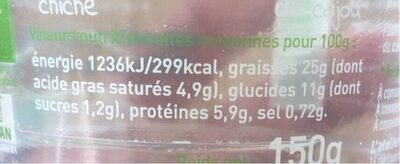 Houmous pois chiche basilic noix de cajou - Nutrition facts - fr
