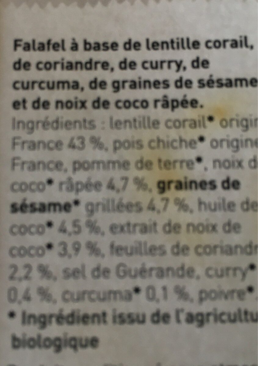 Falafel de lentille corail - Ingrediënten - fr