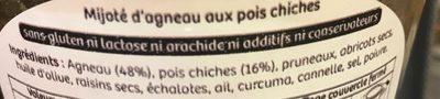 Mijoté d'agneau aux poix chiches - Ingrédients