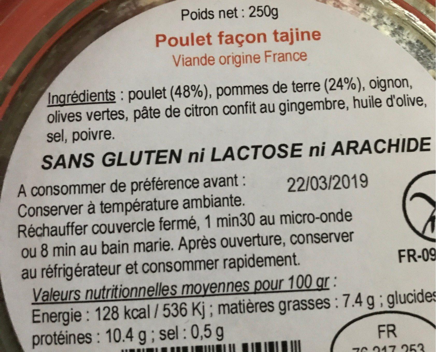 Poulet façon tajine - Nutrition facts