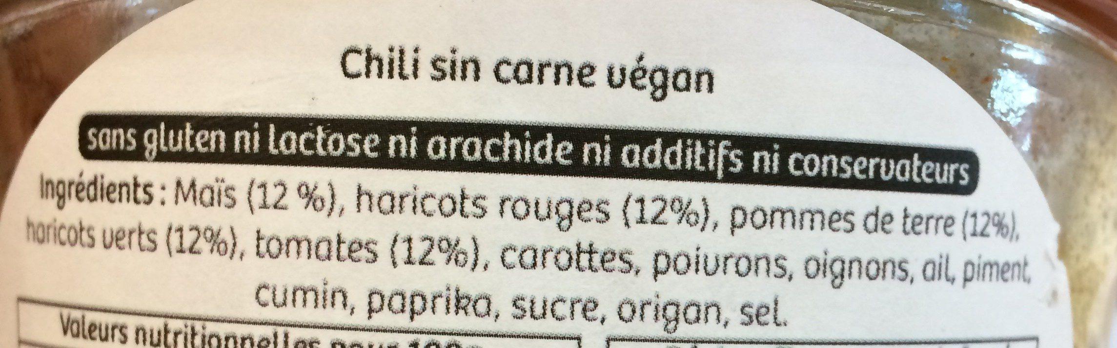 Chili sin carne vegan - Ingrédients